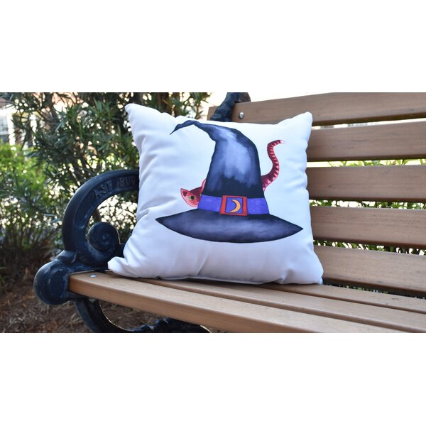 Maser Cat Behind the Hat Halloween Outdoor Throw Pillow by The Holiday Aisle