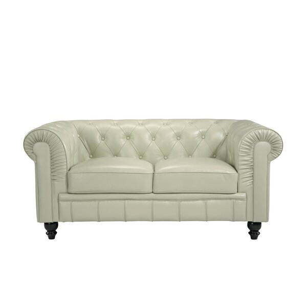 Mckayla Leather Chesterfield Loveseat by Charlton Home