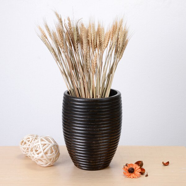 Kandace Round Ripple Mango Wood Table Vase by World Menagerie