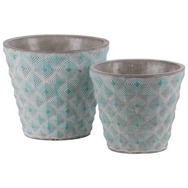 Dellwood Round Embossed Concentric Diamond 2-Piece Cement Pot Planter Set by Bungalow Rose