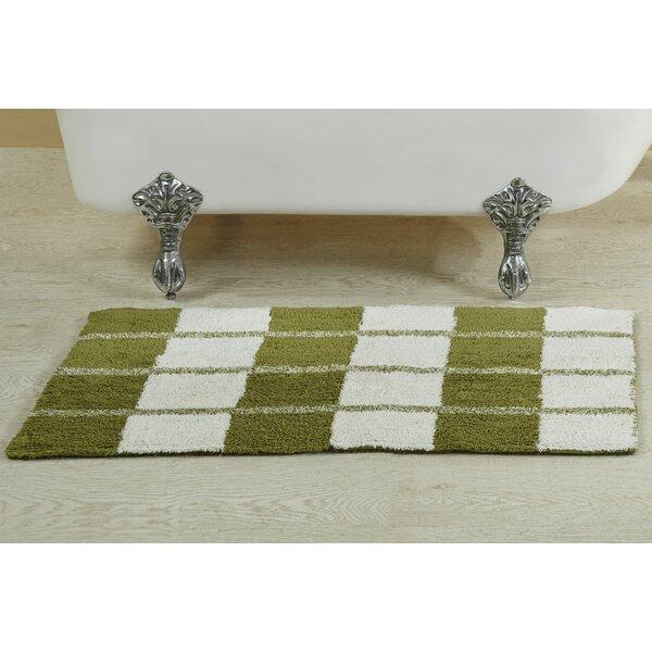 Alcera Rectangle 100% Cotton Reversible Striped Bath Rug