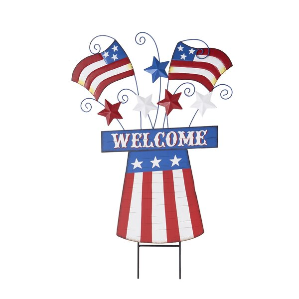 Bensley Wood and Metal Americana Fireworks Garden Stake by The Holiday Aisle
