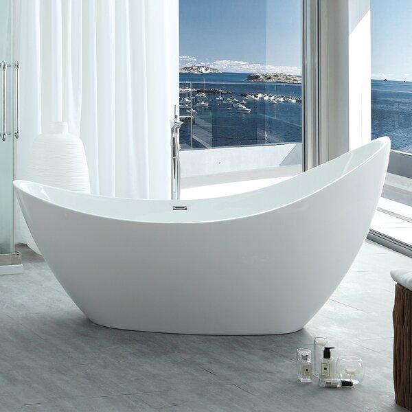 HelixBath Odysseus 72.8 x 30.7 Freestanding Soaking Bathtub by Kardiel