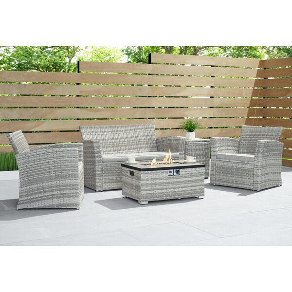Broderick 4 Piece Sofa Seating Group with Cushions by Alcott Hill