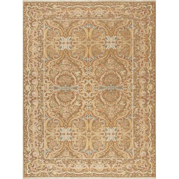 One-of-a-Kind Romanian Hand-Knotted Beige 10'2 x 13'7 Wool Area Rug