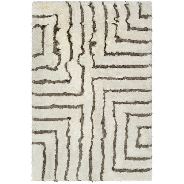 Witherell Geometric Hand-Tufted Cream/Charcoal Area Rug by Mercer41