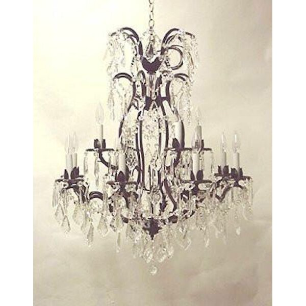 Alvan 12-Light Wrought Iron Base Chain Candle Style Chandelier by Astoria Grand