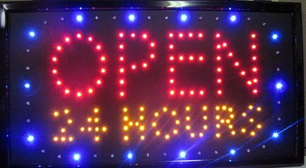Open 24 LED Sign Hanging Lamp by NeoPlex