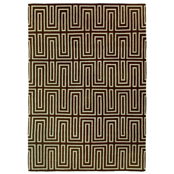 Hand-Woven Wool Chocolate/Blue Area Rug by Exquisite Rugs