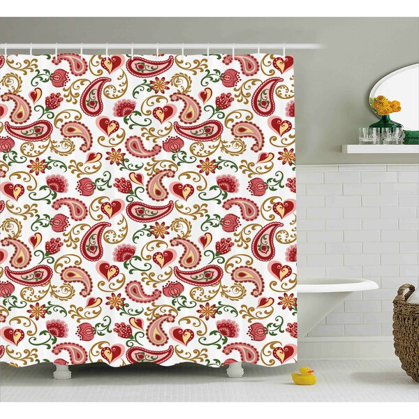 Quarryville Indian Style Rose Motif Shower Curtain by Red Barrel Studio