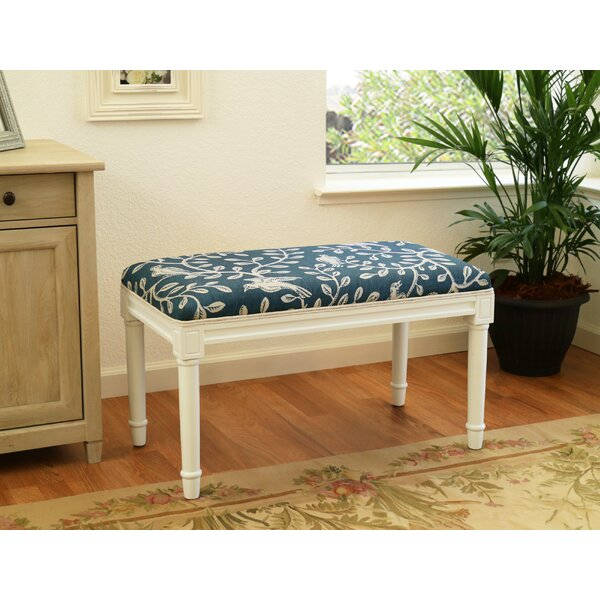 Westman Birds and Vines Wood Upholstered  Bench by Ophelia & Co.