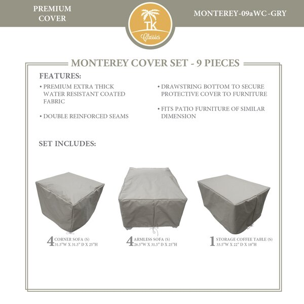Monterey 9 Piece Water Resistant Patio Furniture Cover Set by TK Classics