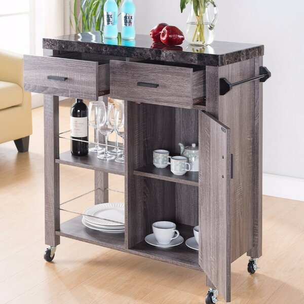 Hawksley Highly Functional Kitchen Cart with Marble Top by Loon Peak
