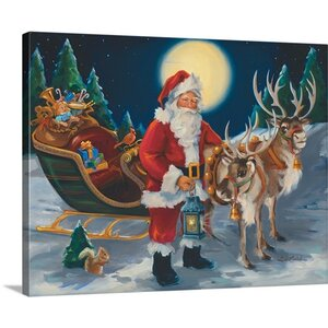 Christmas Art 'Santa with Lantern' by Susan Comish Painting Print on Wrapped Canvas by Great Big Canvas