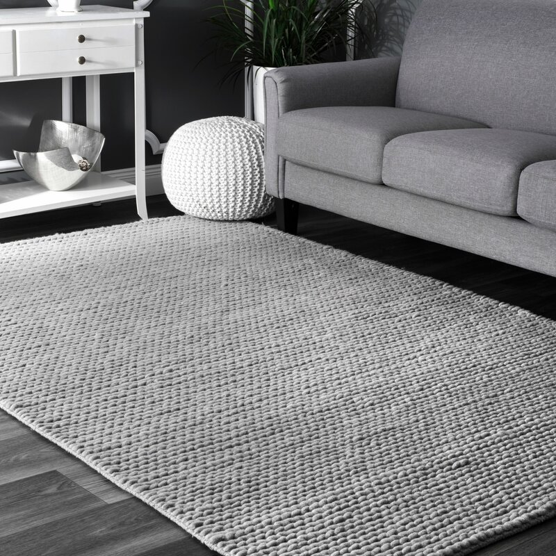 Superbe Makenzie Woolen Cable Hand Woven Light Gray Area Rug