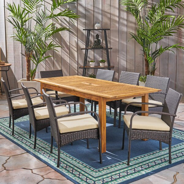 muir Outdoor Expandable 9 Piece Dining Set with Cushions by Brayden Studio