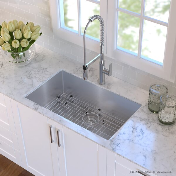 Handmade Stainless Steel 16 Gauge 32 L x 19 W Undermount Kitchen Sink with Faucet by Kraus