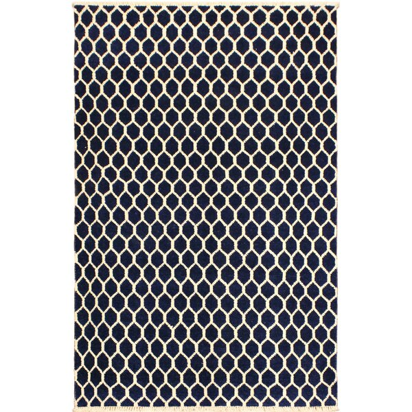 One-of-a-Kind Ciara Hand Knotted Wool Navy/Ivory Area Rug by Mercer41