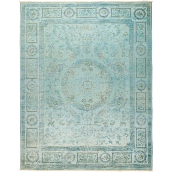 One-of-a-Kind Courter Hand Knotted Wool Blue Area Rug by Bungalow Rose