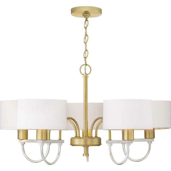 Mireille 5 - Light Shaded Classic/Traditional Chandelier by Mercer41 Mercer41
