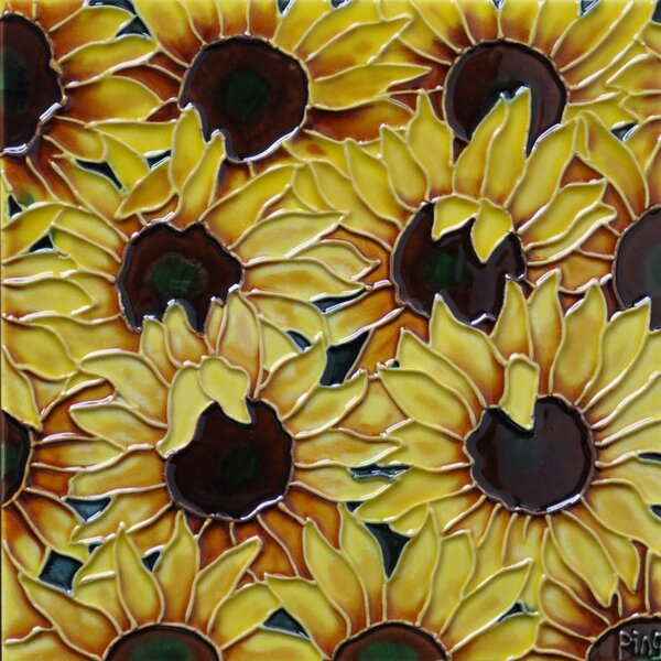 Multi Sunflowers Tile Wall Decor by Continental Art Center