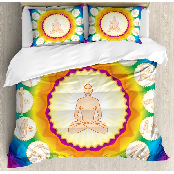 Yogi in The Lotus Posture and Exercises in Several Positions Surya Namaskar Vitality Duvet Set by East Urban Home