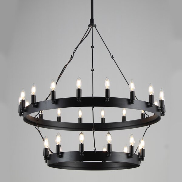Quercia 30 - Light Candle Style Wagon Wheel Chandelier With Wrought Iron Accents By Gracie Oaks