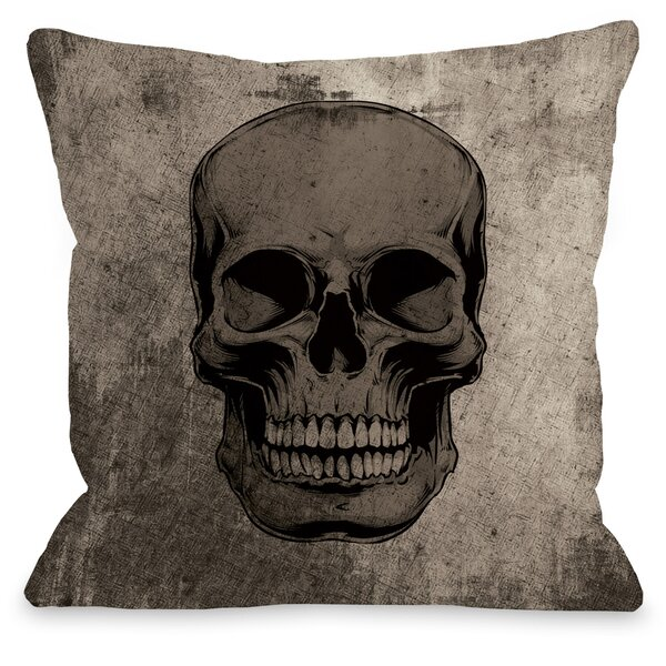 Skull Grunge Throw Pillow by The Holiday Aisle