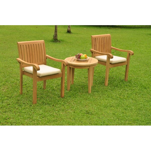 Rudden 3 Piece Teak Bistro Set by Rosecliff Heights