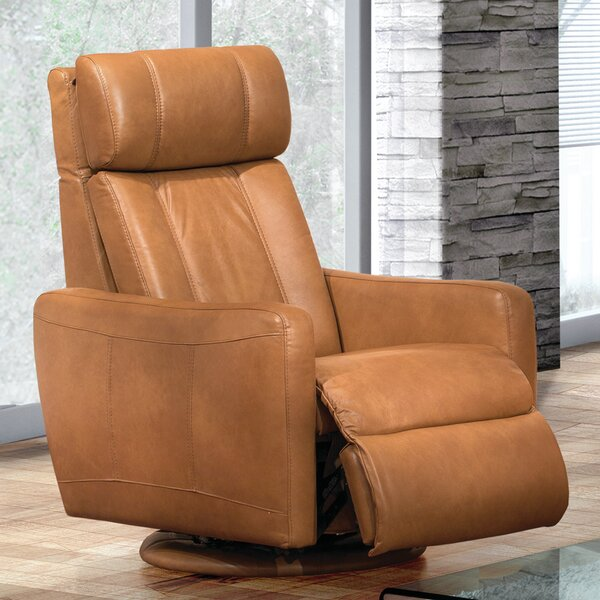 Thornton Leather Power Swivel Rocker Recliner by Fornirama