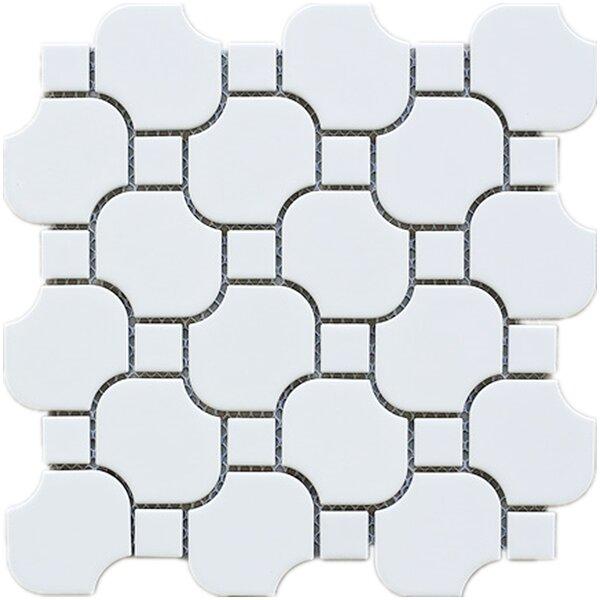 Halibon with Dot Random Sized Porcelain Tile in White by Multile