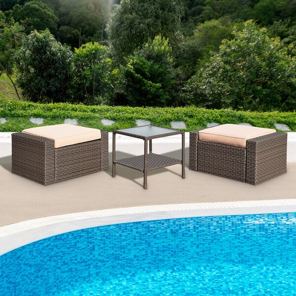 Vandemere 2 Piece Rattan Seating Group with Cushions by Ebern Designs