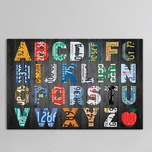 Recycled License Plate Alphabet Series A to Z Canvas Art by East Urban Home