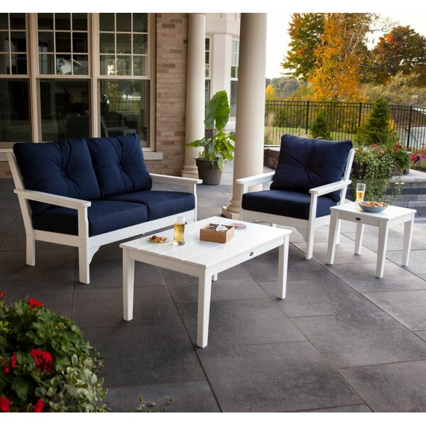 Vineyard 5 Piece Sunbrella Sofa Seating Group with Cushions by POLYWOOD®