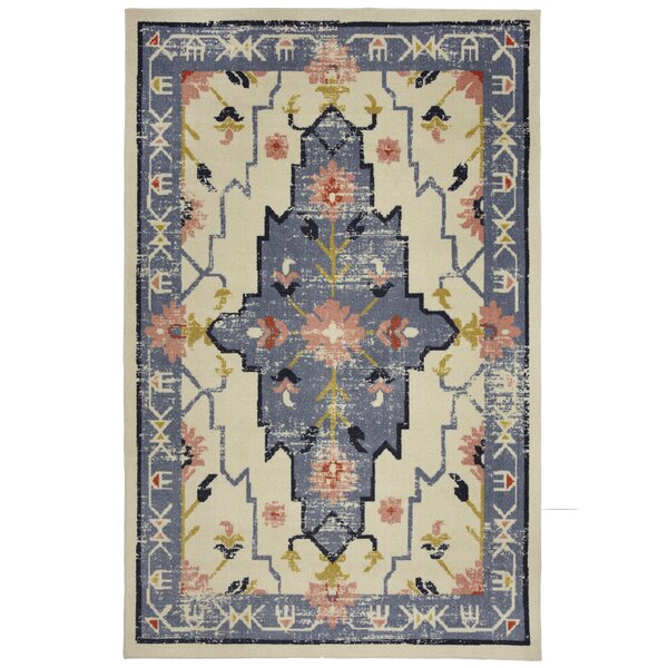 Mohawk Power Loom Polyester Blush/Beige/Blue Indoor Area Rug by Under the Canopy
