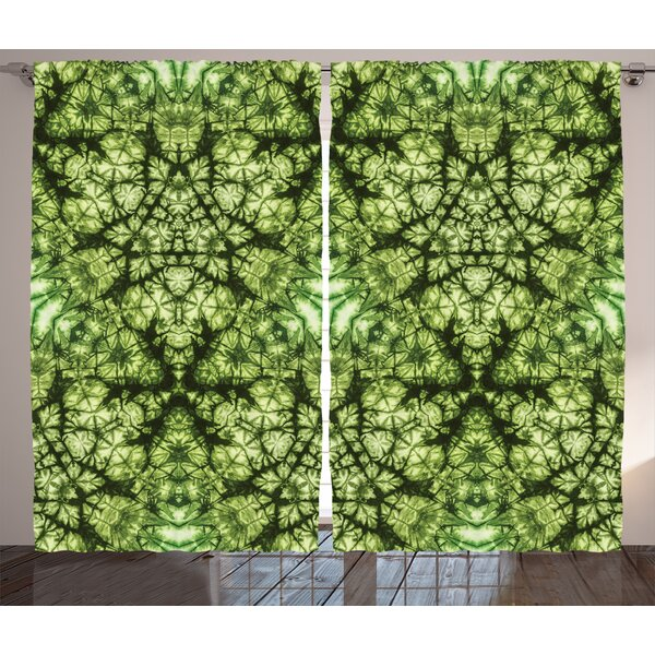 Ginger Tie Dye  Graphic Print and Text Semi-Sheer Rod Pocket Curtain Panels (Set of 2) by World Menagerie