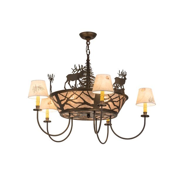Elk on The Loose 8-Light Shaded Chandelier by Meyda Tiffany