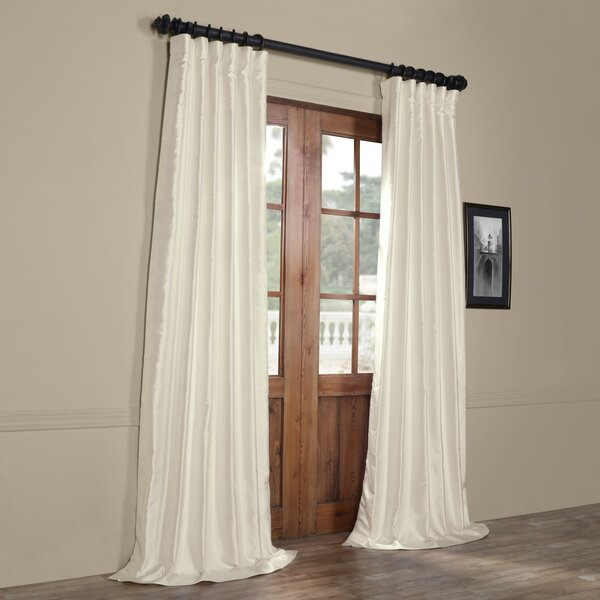 House Of Hampton Hedgerley Yarn Dyed Faux Dupioni Silk Single Curtain Panel Reviews Wayfair
