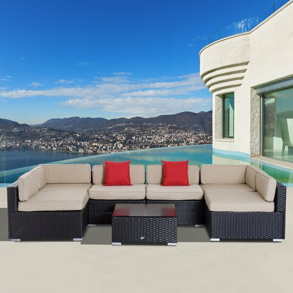 Featherston 7 Piece Rattan Sectional Set with Cushions by Latitude Run