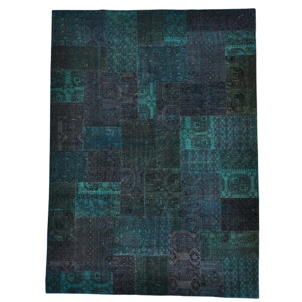 Afghan Turkoman Patchwork Overdyed Hand-Knotted Dark Blue/Aqua Area Rug by Bloomsbury Market