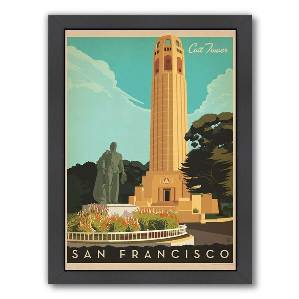 San Francisco Coit Tower Framed Vintage Advertisement by East Urban Home
