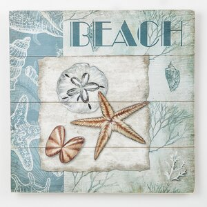 'Shells and Beach' Graphic Art Print on Wood by Beachcrest Home