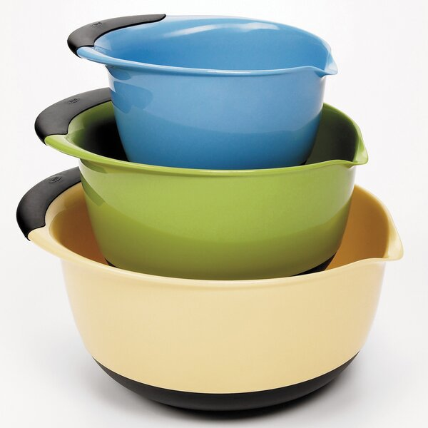 Good Grips 3 Piece Plastic Mixing Bowl Set by OXO