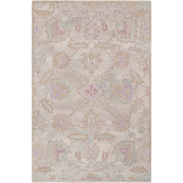 Kendall Green Floral Hand Hooked Wool Khaki/Taupe Area Rug by Bungalow Rose