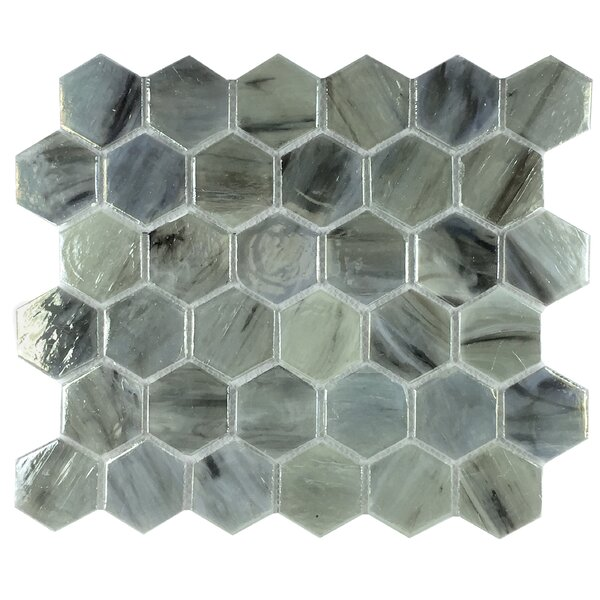 Esagono Laguna 1.85 x 2 Glass Mosaic Tile in Jade Blue by Byzantin Mosaic