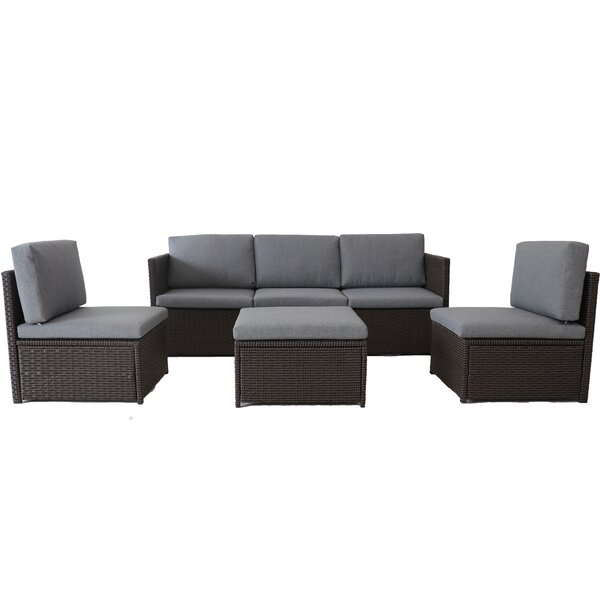 Everett 4 Piece Rattan Deep Seating Group with Cushions by Bayou Breeze