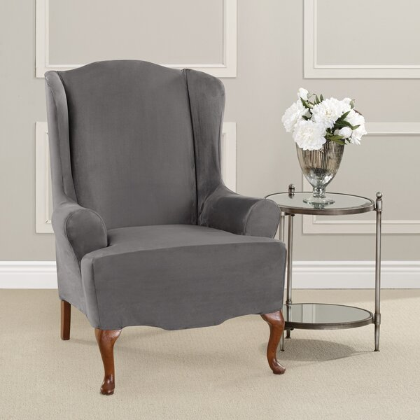Compare Price Ultimate Heavyweight Stretch Suede T-Cushion Wingback Slipcover