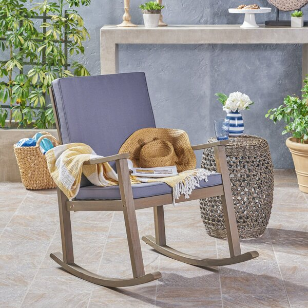 Arend Outdoor Rocking Chair with Cushions by Gracie Oaks