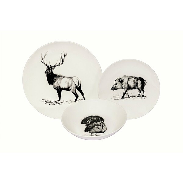 Albertson Wild Animals Coupe 36 Piece Dinnerware Set, Service for 12 by Loon Peak