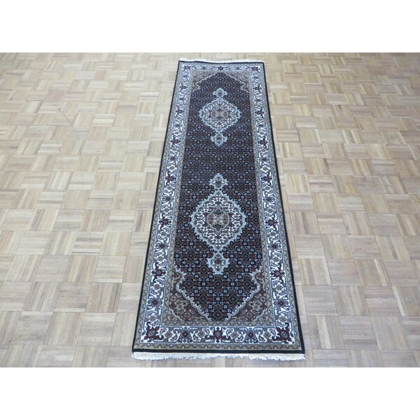 One-of-a-Kind Raiden Fine Tabriz Persian Hand-Knotted Black Area Rug by Astoria Grand